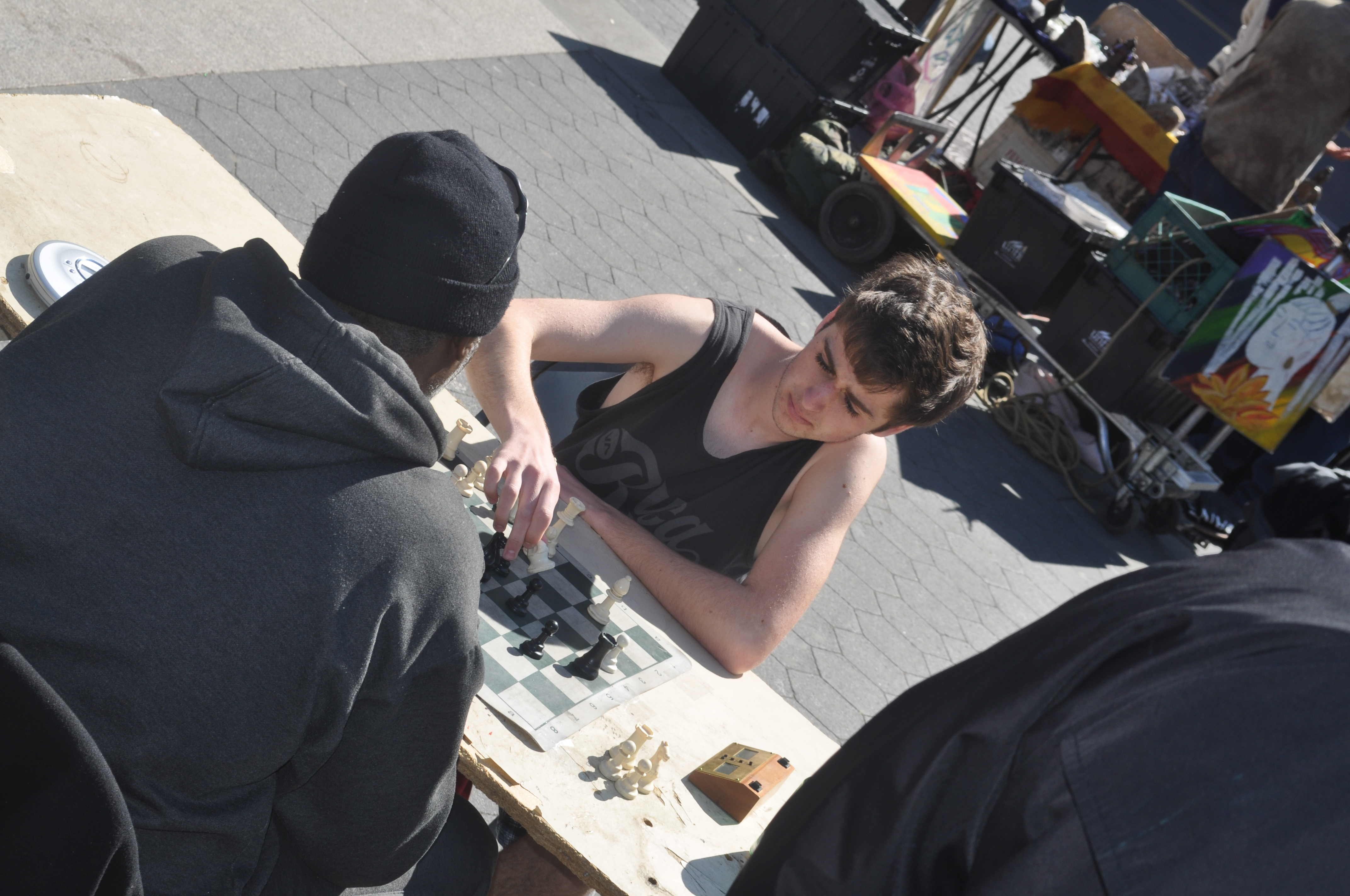 """Playing speed chess against """"Big John"""" in Union Square Park, Manhatten"""