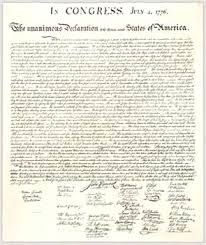 A copy of The Declaration of Independence.   Image from: www.archives.gov