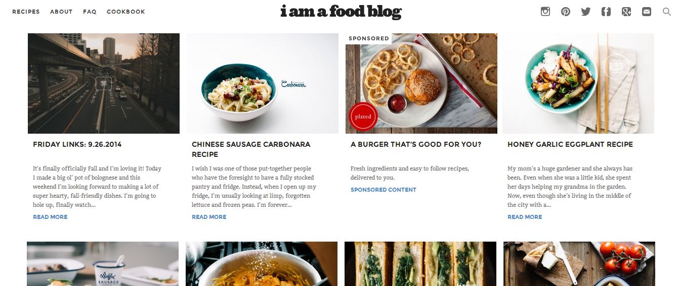 A variety of delicious home cooking recipes with pictures. [Image by screen capture]