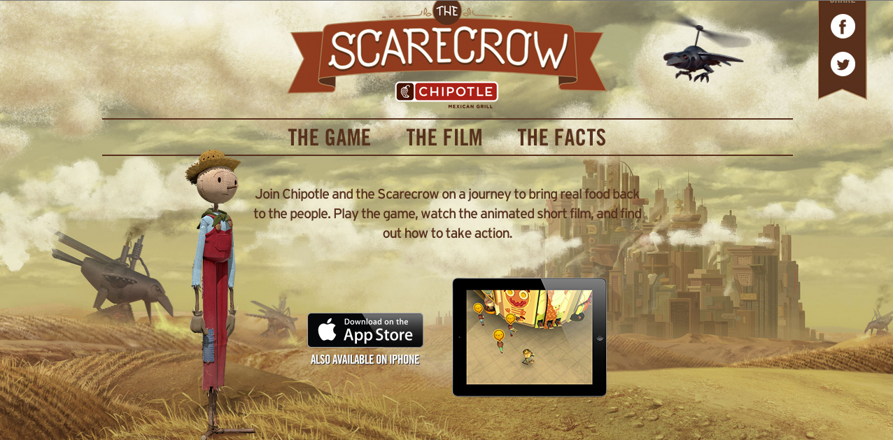 """The home page for Chipotle's """"Scarecrow"""" campaign website."""