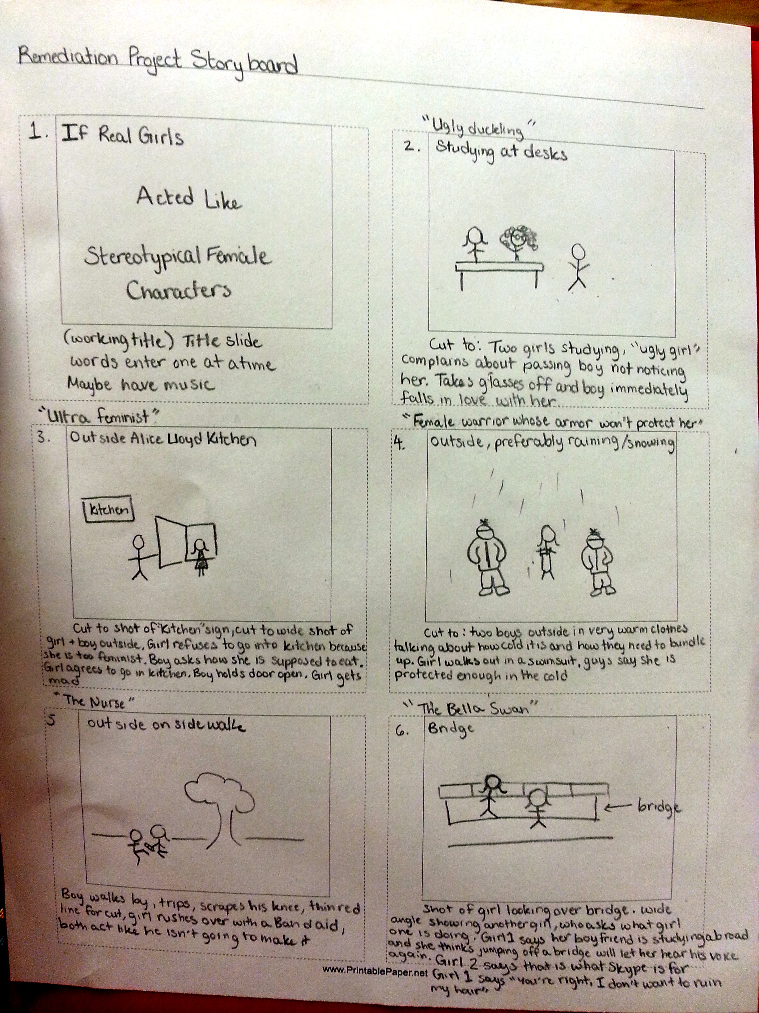Storyboard for Remediation Project, six panels, stick figure drawings in each with captions at the bottom