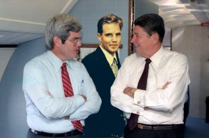 My dad on Air Force 1 with Ronald Reagan and Newt Gingrich
