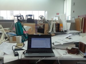 desk mess studio work space